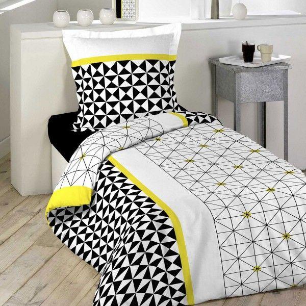 linge de lit jaune coton sup rieur eminza. Black Bedroom Furniture Sets. Home Design Ideas