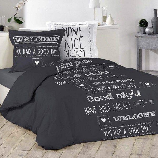 housse de couette et deux taies nice dream coton 200 cm gris anthracite linge de lit eminza. Black Bedroom Furniture Sets. Home Design Ideas