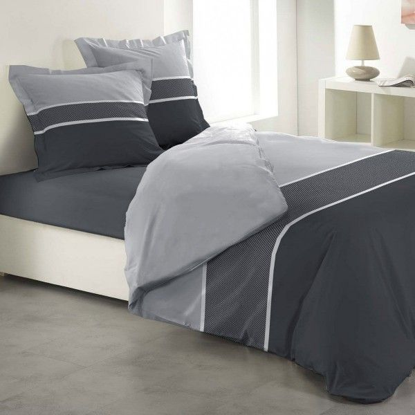 housse de couette gris linge de lit eminza. Black Bedroom Furniture Sets. Home Design Ideas