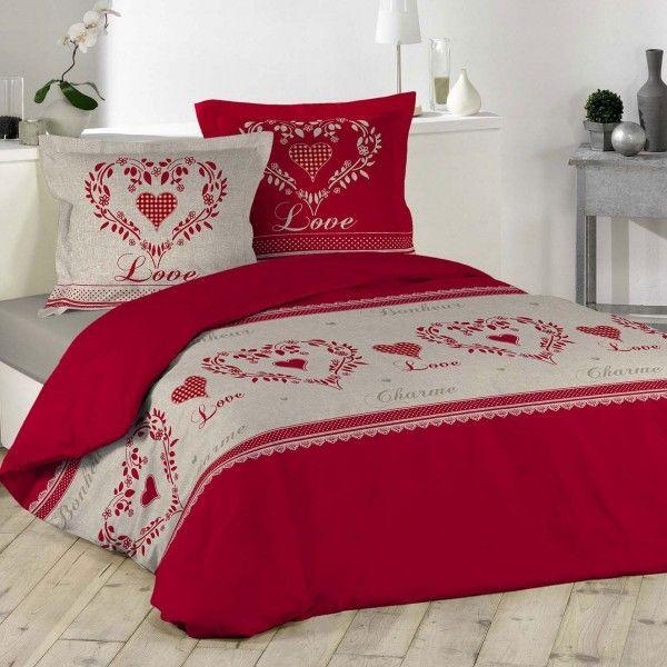 Housse de couette linge de lit eminza for Housse de couette rouge et beige