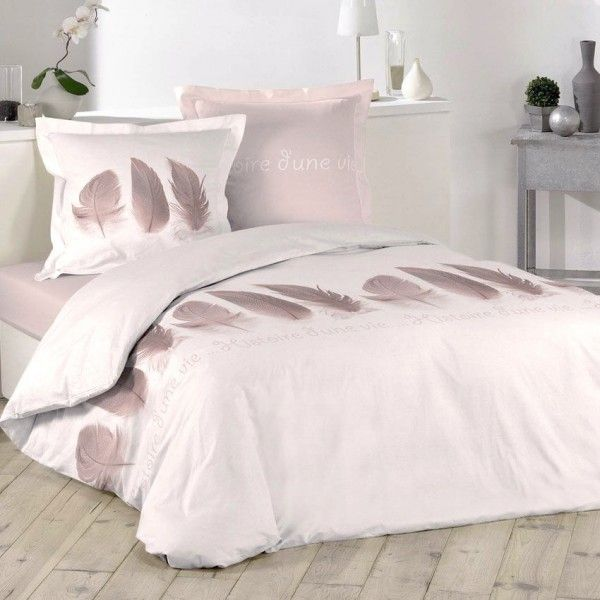 housse de couette rose linge de lit eminza. Black Bedroom Furniture Sets. Home Design Ideas