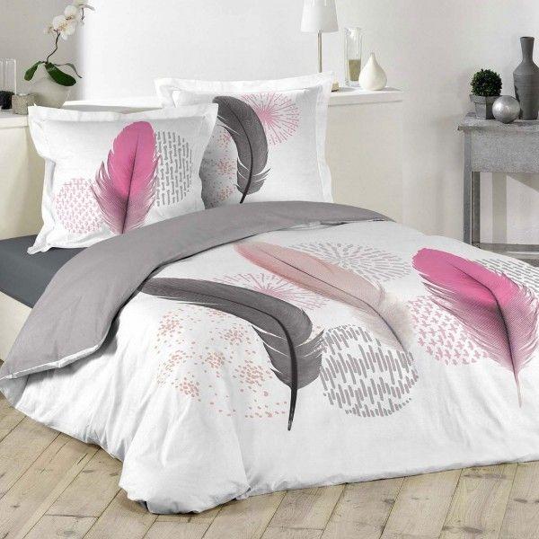 Housse de couette et deux taies pink dream coton 240 cm - Housse de couette gris clair ...
