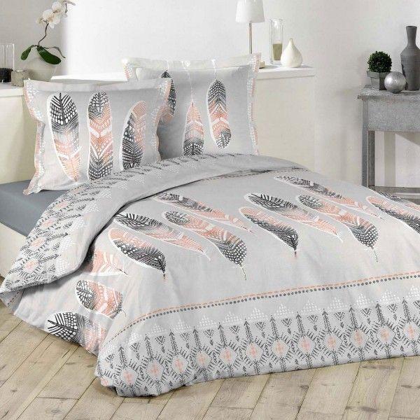 housse de couette et deux taies plume ethnique coton 260 cm gris clair housse de couette. Black Bedroom Furniture Sets. Home Design Ideas