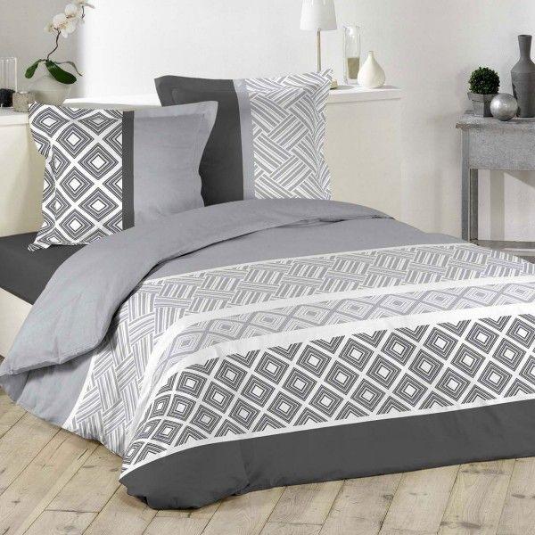 parure de draps gris linge de lit eminza. Black Bedroom Furniture Sets. Home Design Ideas