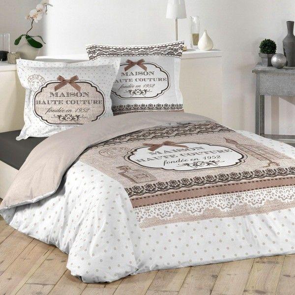 housse de couette et deux taies haute couture coton 240 cm ecru housse de couette eminza. Black Bedroom Furniture Sets. Home Design Ideas