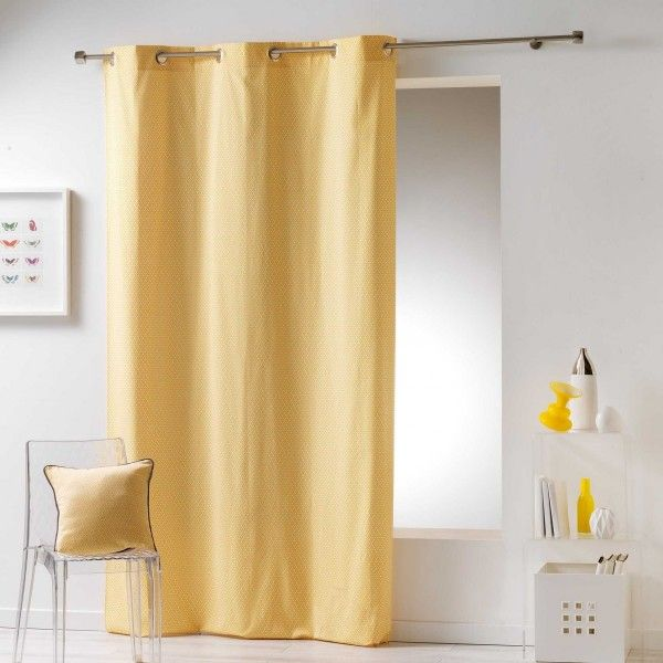 rideau et voilage jaune eminza. Black Bedroom Furniture Sets. Home Design Ideas