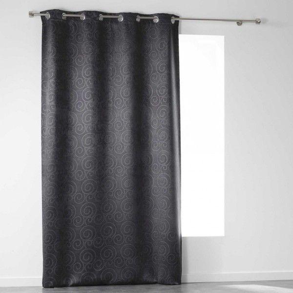 rideau occultant 140 x 240 cm velours noctua gris. Black Bedroom Furniture Sets. Home Design Ideas