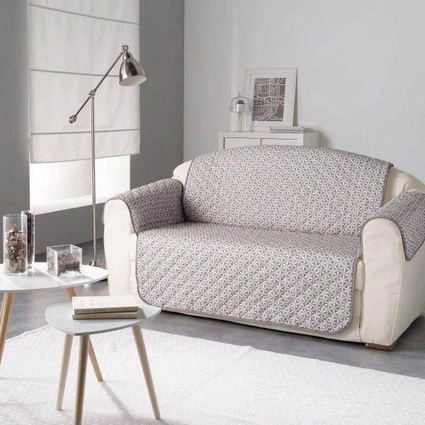 housse de canap 2 places kiria taupe d co textile eminza. Black Bedroom Furniture Sets. Home Design Ideas