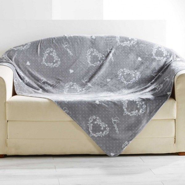 Plaid polaire (150 cm) Home love Gris