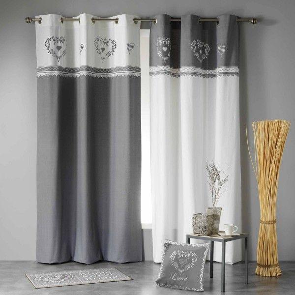 Rideau tamisant (140 x H240 cm) Home Love Gris/Blanc - Rideau ...