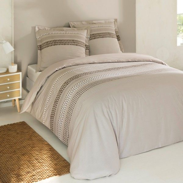 housse de couette et deux taies anthony coton 240 cm beige housse de couette eminza. Black Bedroom Furniture Sets. Home Design Ideas