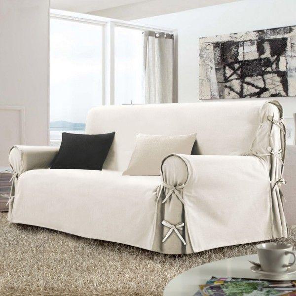 Housse de canap 3 places stella beige naturel d co textile eminza - Housse coussin de canape ...