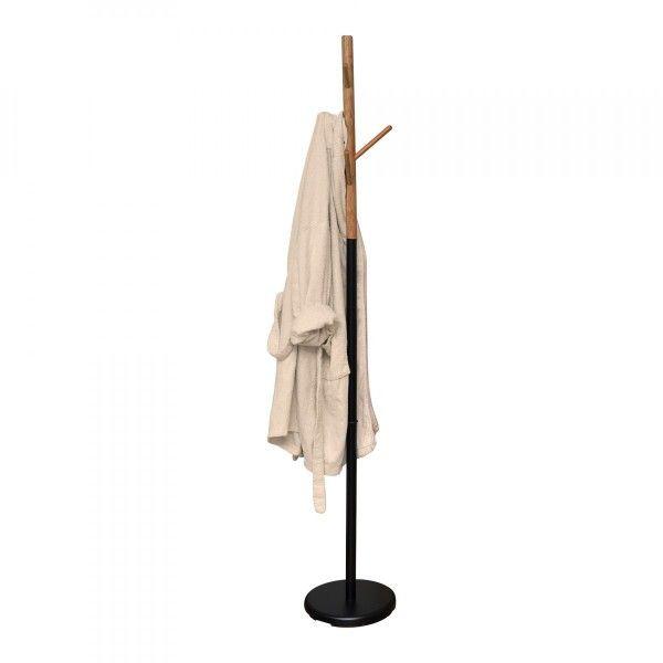 Porte Serviette Salle De Bain Bambou Et Noir Porteserviette Eminza - Porte manteau salle de bain