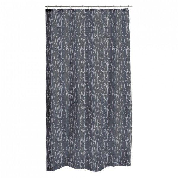 Rideau de douche rideau effet tissu douche baignoire eminza - Rideau de douche gris anthracite ...