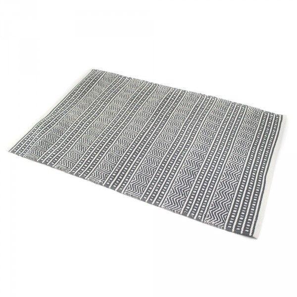 tapis coton 170 cm indira tia gris et blanc tapis eminza. Black Bedroom Furniture Sets. Home Design Ideas