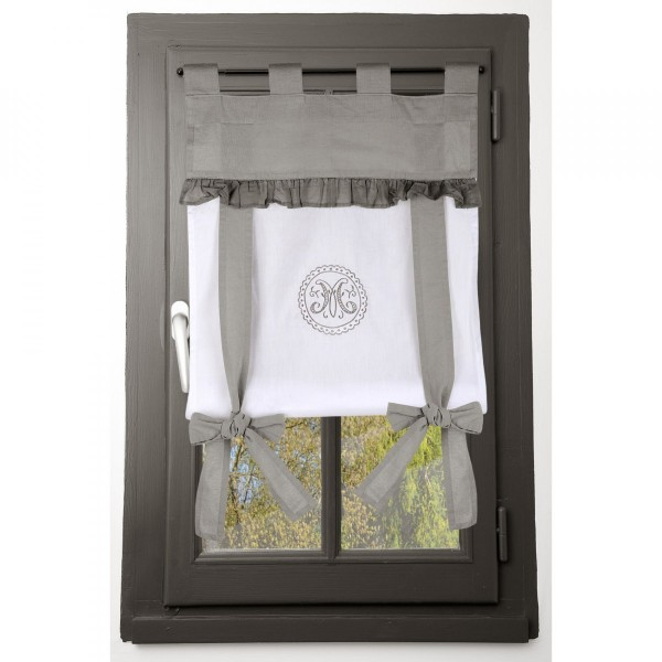 store voilage droit 45 x 100 cm marie gris rideau voilage store eminza. Black Bedroom Furniture Sets. Home Design Ideas