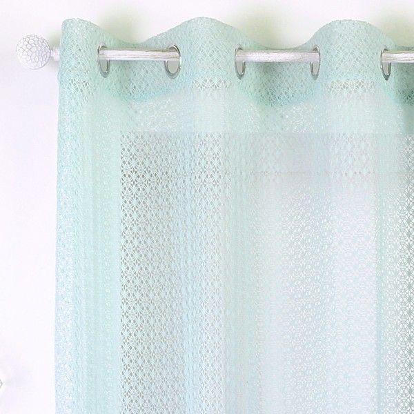 voilage 140 x 260 cm homa vert menthe rideau voilage store eminza. Black Bedroom Furniture Sets. Home Design Ideas