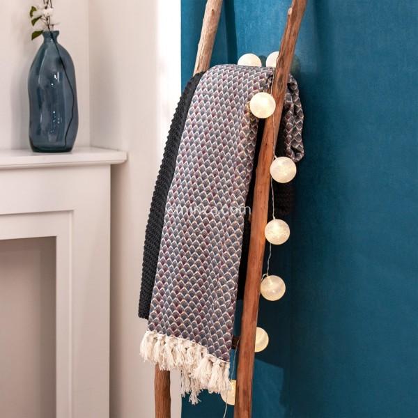 Jeté de canapé (170 cm) Risen Jap Bleu - Déco textile - Eminza