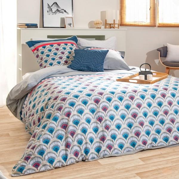 housse de couette et deux taies coton 260 cm risen bleu. Black Bedroom Furniture Sets. Home Design Ideas
