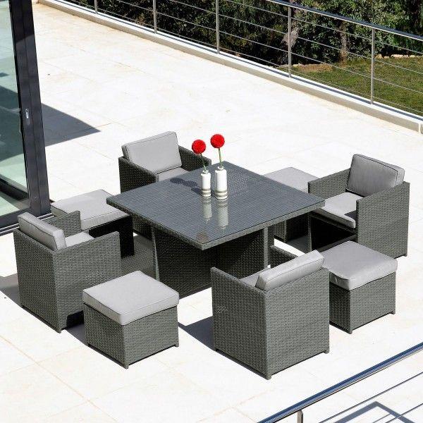 salon de jardin kubik gris 8 places salon de jardin table et chaise eminza. Black Bedroom Furniture Sets. Home Design Ideas