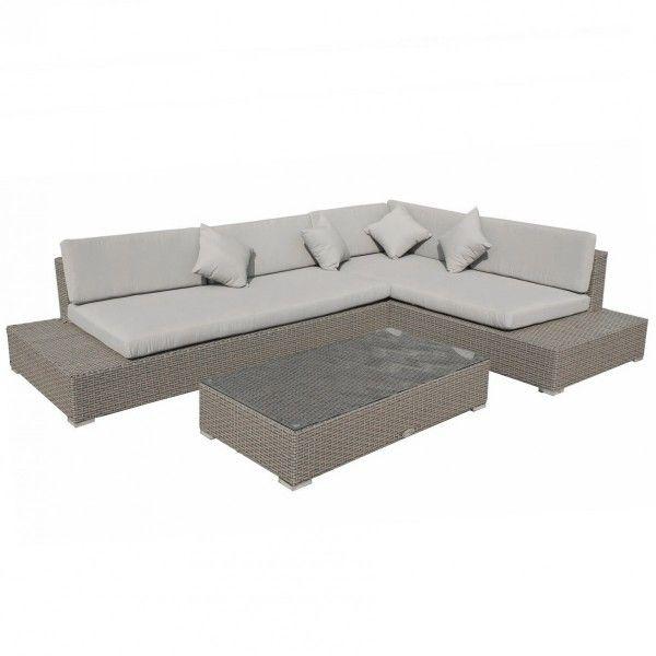 salon de jardin maldives taupe beige clair 5 places. Black Bedroom Furniture Sets. Home Design Ideas