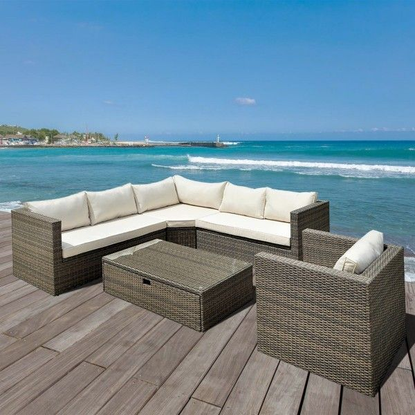 salon de jardin cancun marron chin beige 6 places salon de jardin eminza. Black Bedroom Furniture Sets. Home Design Ideas
