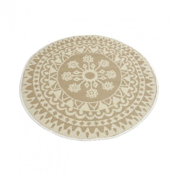 tapis rond d150 cm anoki beige tapis eminza. Black Bedroom Furniture Sets. Home Design Ideas