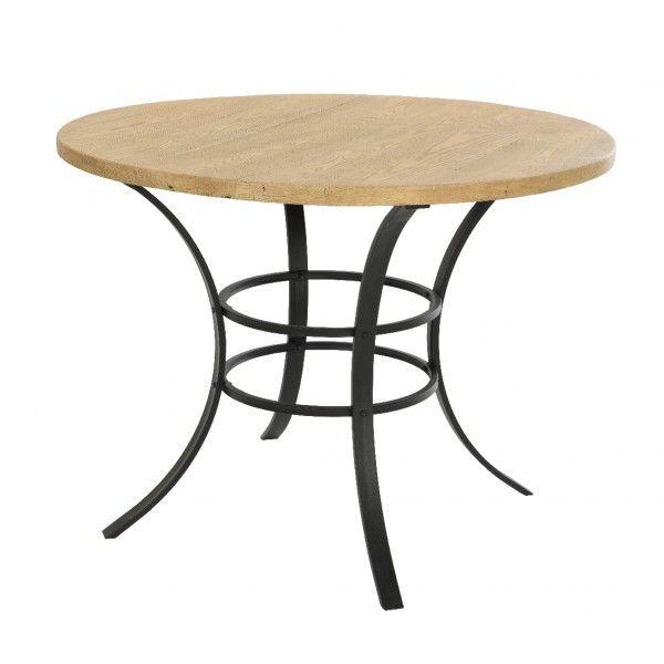 Table de jardin ronde Bois Dublin - Noir/Naturel - Table de jardin ...