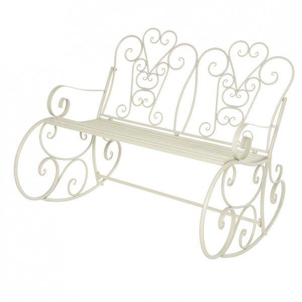 Panchina a dondolo stile ferro battuto vienna bianco for Panchina a dondolo