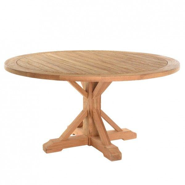 Table de jardin ronde en teck geneva naturel salon de Table ronde 100 cm