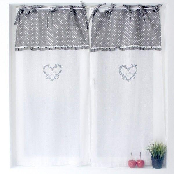 paire de voilages 60 x 120 cm victoria gris rideau voilage store eminza. Black Bedroom Furniture Sets. Home Design Ideas