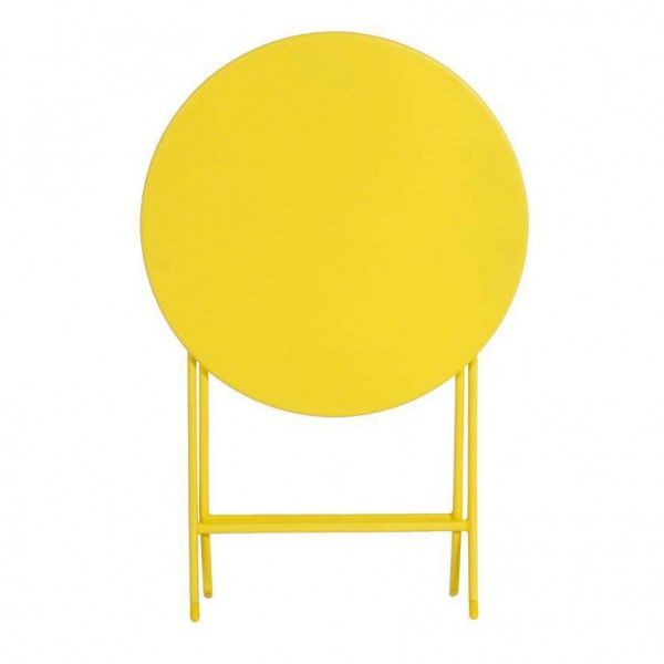 Table de jardin ronde pliante Métal Greensboro (D60 cm) - Jaune ...