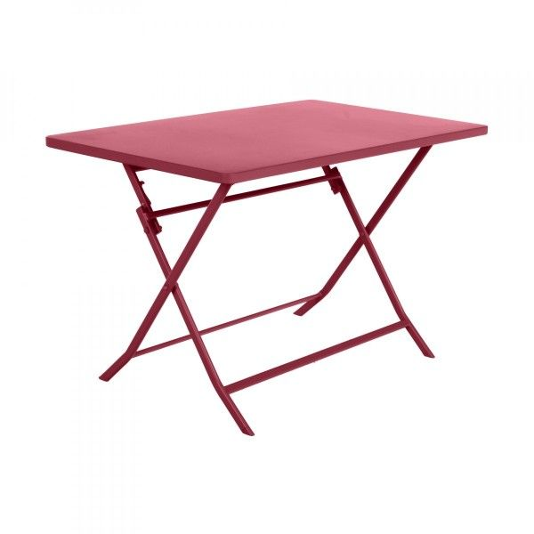 Table de jardin rectangulaire pliante Métal Greensboro (110 x 70 cm) - Framboise
