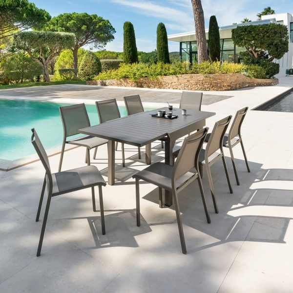 Table de Jardin extensible Piazza Aluminium (180 x 90 cm) - Marron