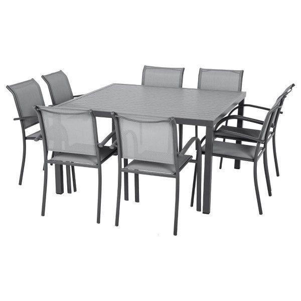 table de jardin aluminium piazza 136 x 136 cm gris. Black Bedroom Furniture Sets. Home Design Ideas