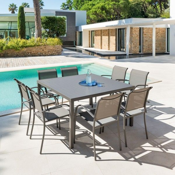 Table de jardin Piazza Aluminium (136 x 136 cm) - Marron