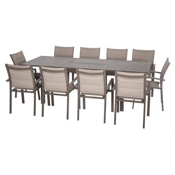 Table de jardin extensible Aluminium Azua (300 x 100 cm) - Marron ...