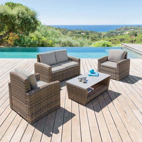salon de jardin polynesia naturel 4 places salon de jardin table et chaise eminza. Black Bedroom Furniture Sets. Home Design Ideas