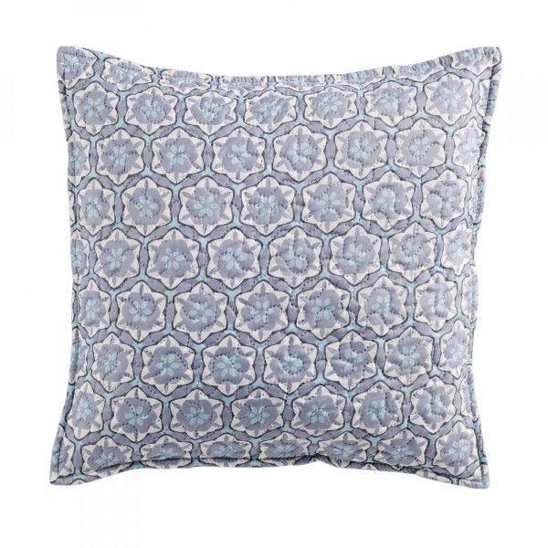 housse de coussin 45 cm isaline gris bleu d co textile. Black Bedroom Furniture Sets. Home Design Ideas