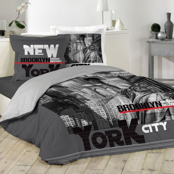 Housse de couette et deux taies NY District 100% coton (240 cm) Gris anthracite