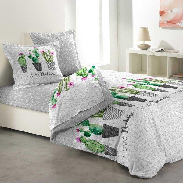 parure de draps coton lit 140 cm 4 pi ces love cactus vert. Black Bedroom Furniture Sets. Home Design Ideas