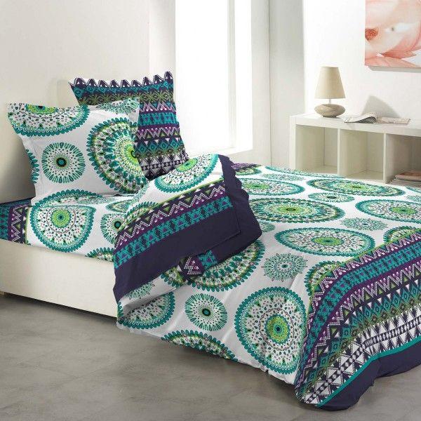 parure de draps coton lit 140 cm 4 pi ces messine vert parure de lit eminza. Black Bedroom Furniture Sets. Home Design Ideas