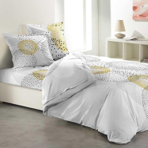 parure de draps coton lit 140 cm 4 pi ces splash jaune parure de lit eminza. Black Bedroom Furniture Sets. Home Design Ideas