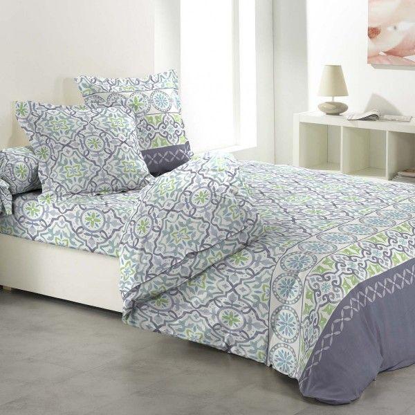 parure de couette compl te coton 260 cm 6 pi ces sevilla bleu clair linge de lit eminza. Black Bedroom Furniture Sets. Home Design Ideas