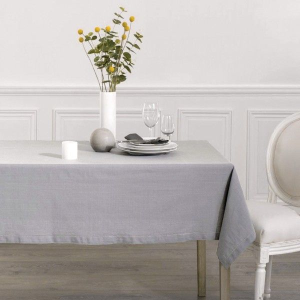 nappe rectangulaire l240 cm chambray gris clair linge de table eminza. Black Bedroom Furniture Sets. Home Design Ideas