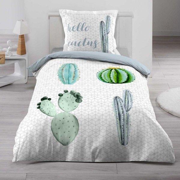 Housse de couette et taie hello cactus coton 140 cm vert - Housse de couette lit une place ...