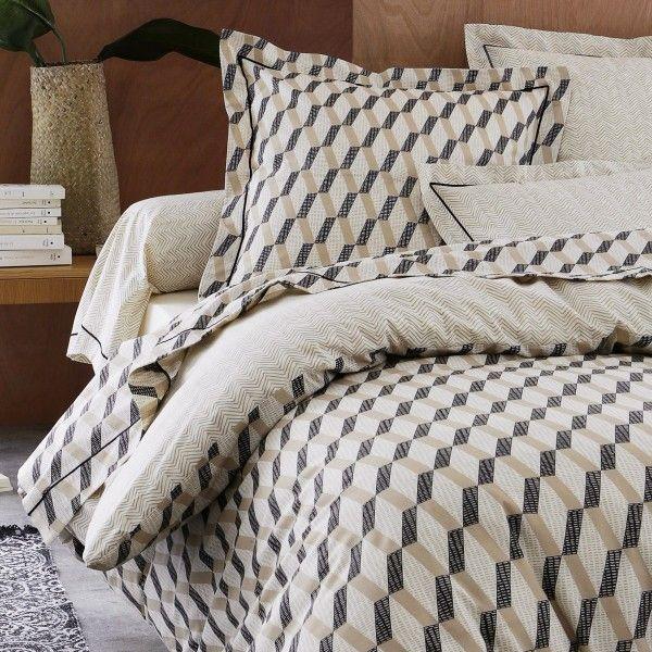 taie d 39 oreiller rectangulaire coton sup rieur eko beige linge de lit eminza. Black Bedroom Furniture Sets. Home Design Ideas