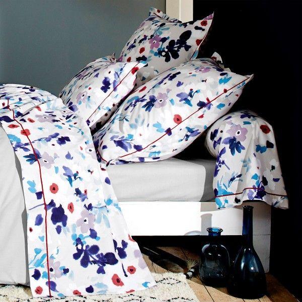 taie de traversin coton sup rieur l200 cm aquarelle bleu linge de lit eminza. Black Bedroom Furniture Sets. Home Design Ideas