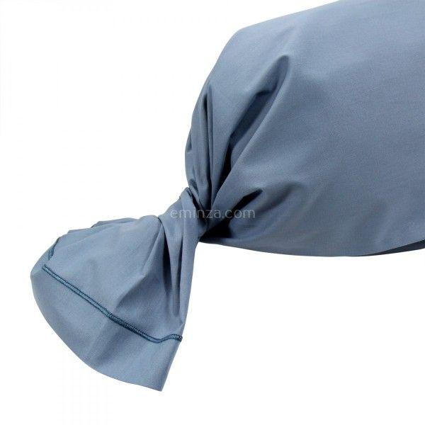 taie de traversin coton sup rieur l200 cm f licie bleu orage linge de lit eminza. Black Bedroom Furniture Sets. Home Design Ideas