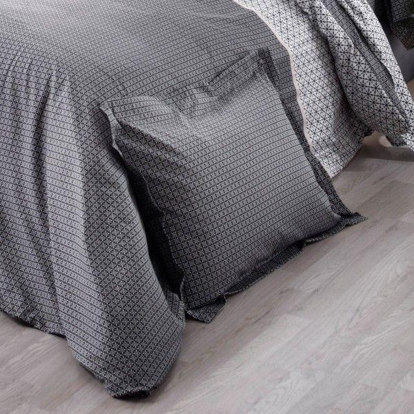 taie d 39 oreiller rectangulaire satin de coton wesley noir linge de lit eminza. Black Bedroom Furniture Sets. Home Design Ideas